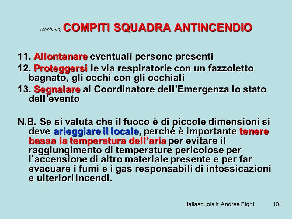 Italiascuola.it Andrea Bighi101 COMPITI SQUADRA ANTINCENDIO (continua) COMPITI SQUADRA ANTINCENDIO 11. Allontanare eventuali persone presenti 12. Prot