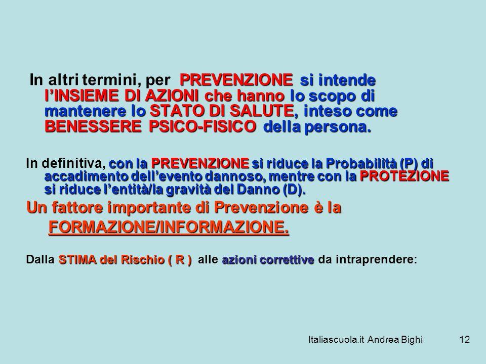 Italiascuola.it Andrea Bighi12 PREVENZIONE si intende lINSIEME DI AZIONI che hanno lo scopo di mantenere lo STATO DI SALUTE, inteso come BENESSERE PSI