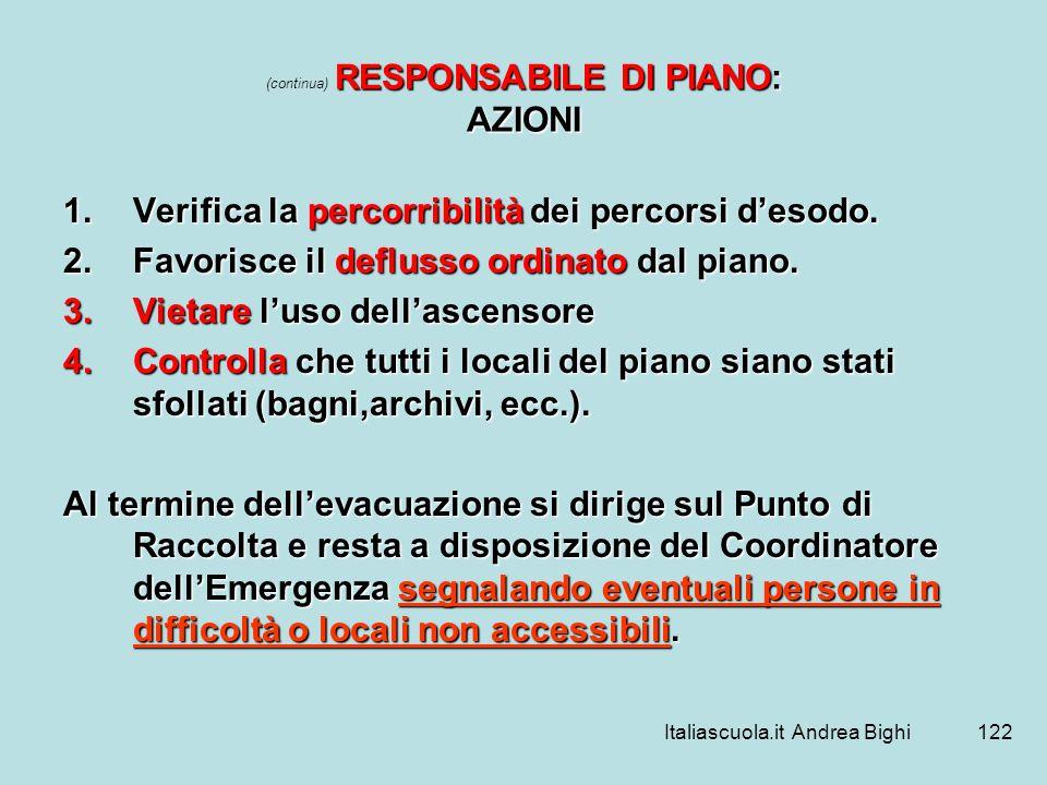 Italiascuola.it Andrea Bighi122 RESPONSABILE DI PIANO: AZIONI (continua) RESPONSABILE DI PIANO: AZIONI 1.Verifica la percorribilità dei percorsi desod