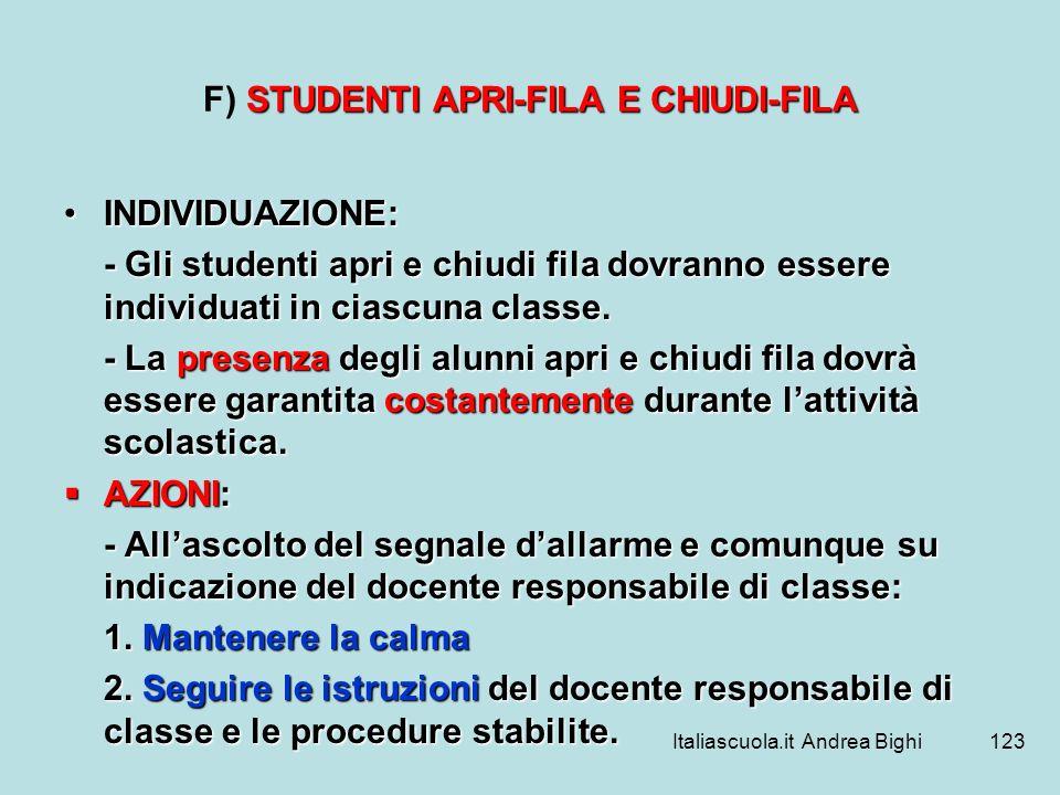 Italiascuola.it Andrea Bighi123 STUDENTI APRI-FILA E CHIUDI-FILA F) STUDENTI APRI-FILA E CHIUDI-FILA INDIVIDUAZIONE:INDIVIDUAZIONE: - Gli studenti apr