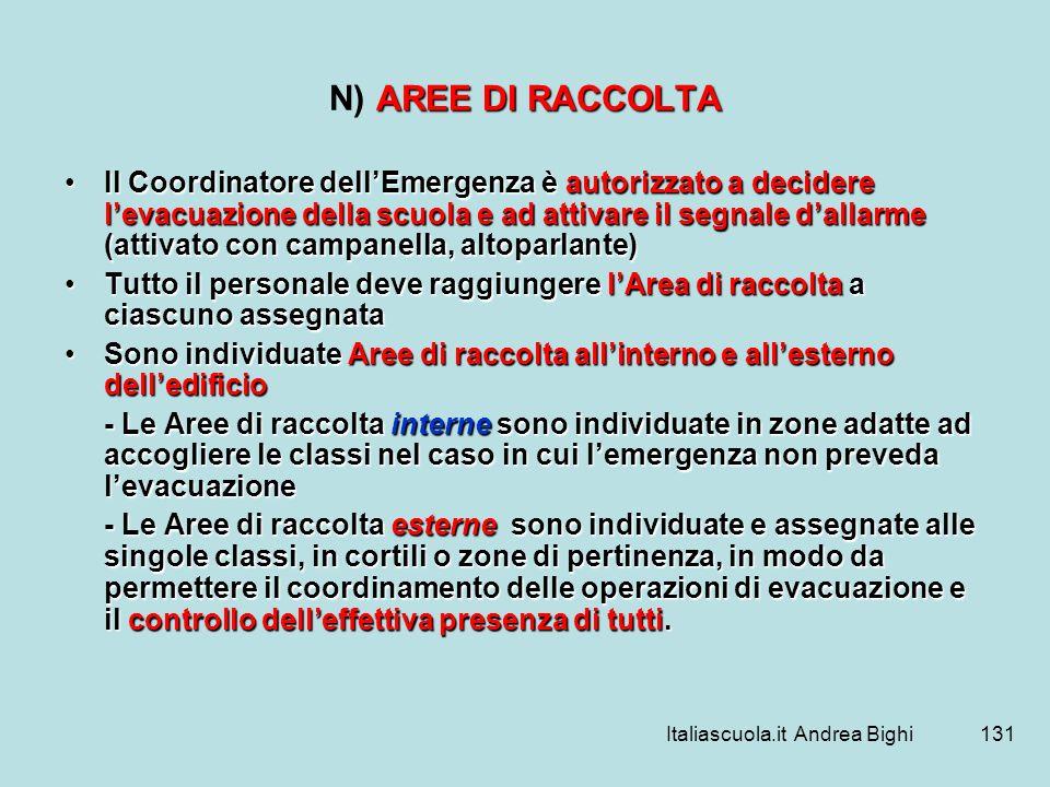 Italiascuola.it Andrea Bighi131 AREE DI RACCOLTA N) AREE DI RACCOLTA Il Coordinatore dellEmergenza è autorizzato a decidere levacuazione della scuola