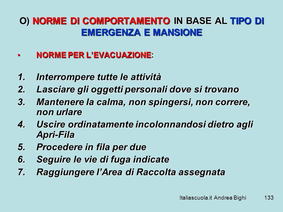 Italiascuola.it Andrea Bighi133 ) NORME DI COMPORTAMENTO IN BASE AL TIPO DI EMERGENZA E MANSIONE O) NORME DI COMPORTAMENTO IN BASE AL TIPO DI EMERGENZ