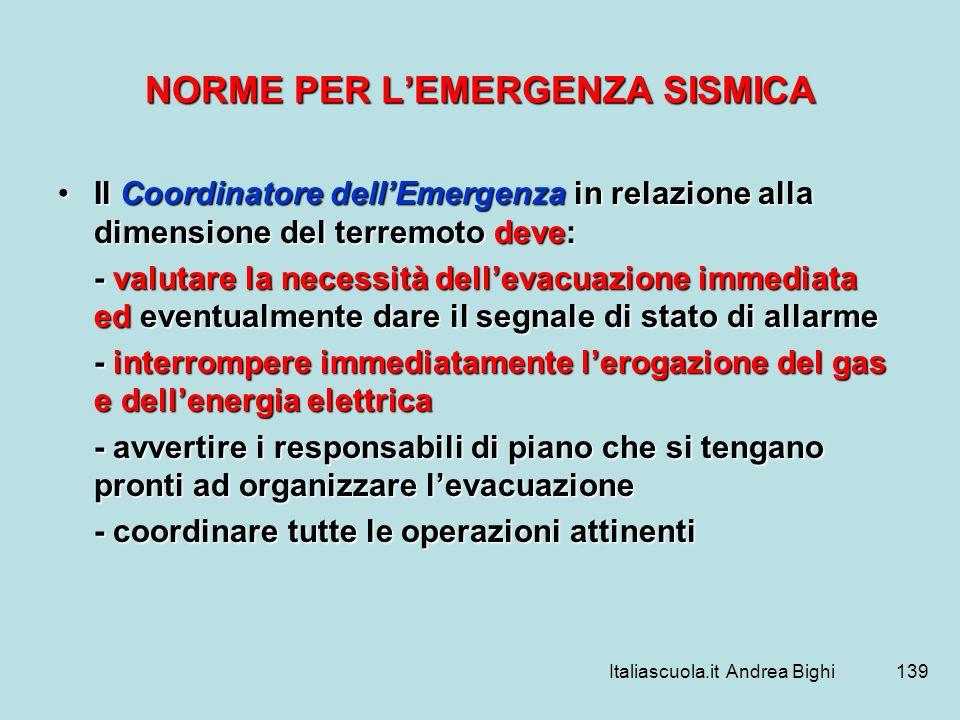 Italiascuola.it Andrea Bighi139 NORME PER LEMERGENZA SISMICA Il Coordinatore dellEmergenza in relazione alla dimensione del terremoto deve:Il Coordina