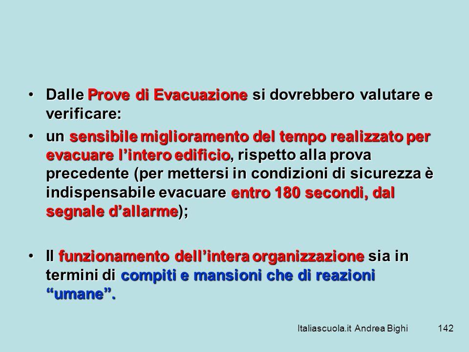 Italiascuola.it Andrea Bighi142 Dalle Prove di Evacuazione si dovrebbero valutare e verificare:Dalle Prove di Evacuazione si dovrebbero valutare e ver