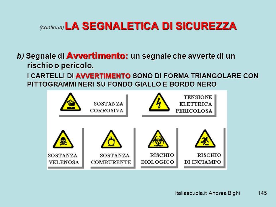 Italiascuola.it Andrea Bighi145 LA SEGNALETICA DI SICUREZZA (continua) LA SEGNALETICA DI SICUREZZA ) Segnale di Avvertimento: un segnale che avverte d