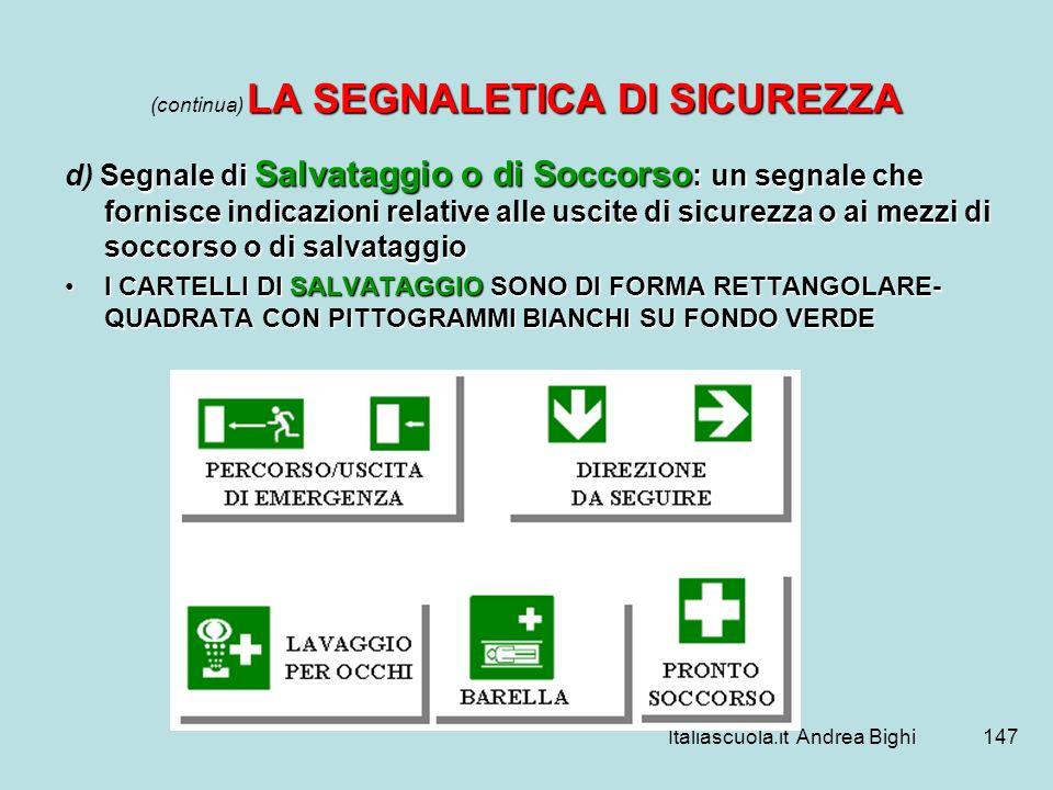 Italiascuola.it Andrea Bighi147 LA SEGNALETICA DI SICUREZZA (continua) LA SEGNALETICA DI SICUREZZA Segnale di Salvataggio o di Soccorso : un segnale c