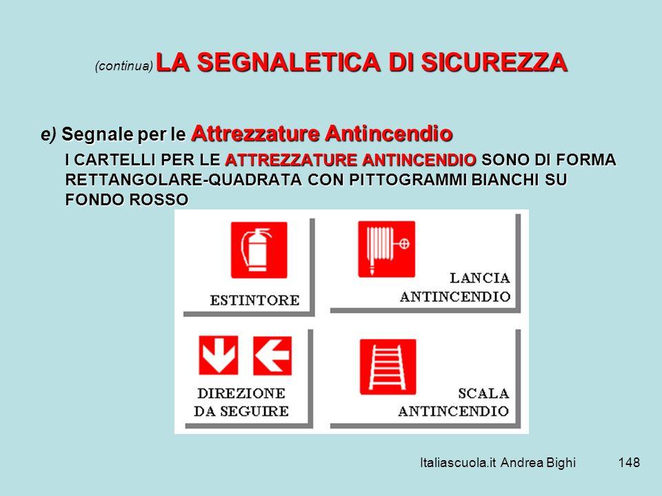 Italiascuola.it Andrea Bighi148 LA SEGNALETICA DI SICUREZZA (continua) LA SEGNALETICA DI SICUREZZA Segnale per le Attrezzature Antincendio e) Segnale