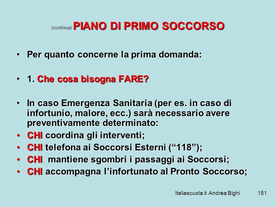 Italiascuola.it Andrea Bighi151 PIANO DI PRIMO SOCCORSO (continua) PIANO DI PRIMO SOCCORSO Per quanto concerne la prima domanda:Per quanto concerne la