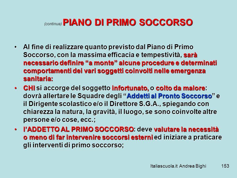 Italiascuola.it Andrea Bighi153 PIANO DI PRIMO SOCCORSO (continua) PIANO DI PRIMO SOCCORSO Al fine di realizzare quanto previsto dal Piano di Primo So
