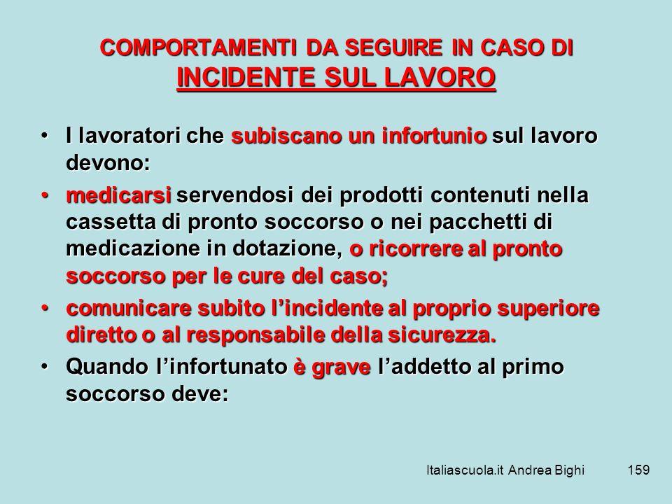 Italiascuola.it Andrea Bighi159 COMPORTAMENTI DA SEGUIRE IN CASO DI INCIDENTE SUL LAVORO I lavoratori che subiscano un infortunio sul lavoro devono:I