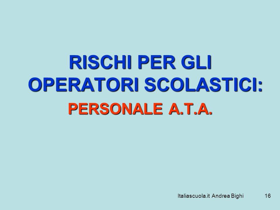 Italiascuola.it Andrea Bighi16 RISCHI PER GLI OPERATORI SCOLASTICI: PERSONALE A.T.A.
