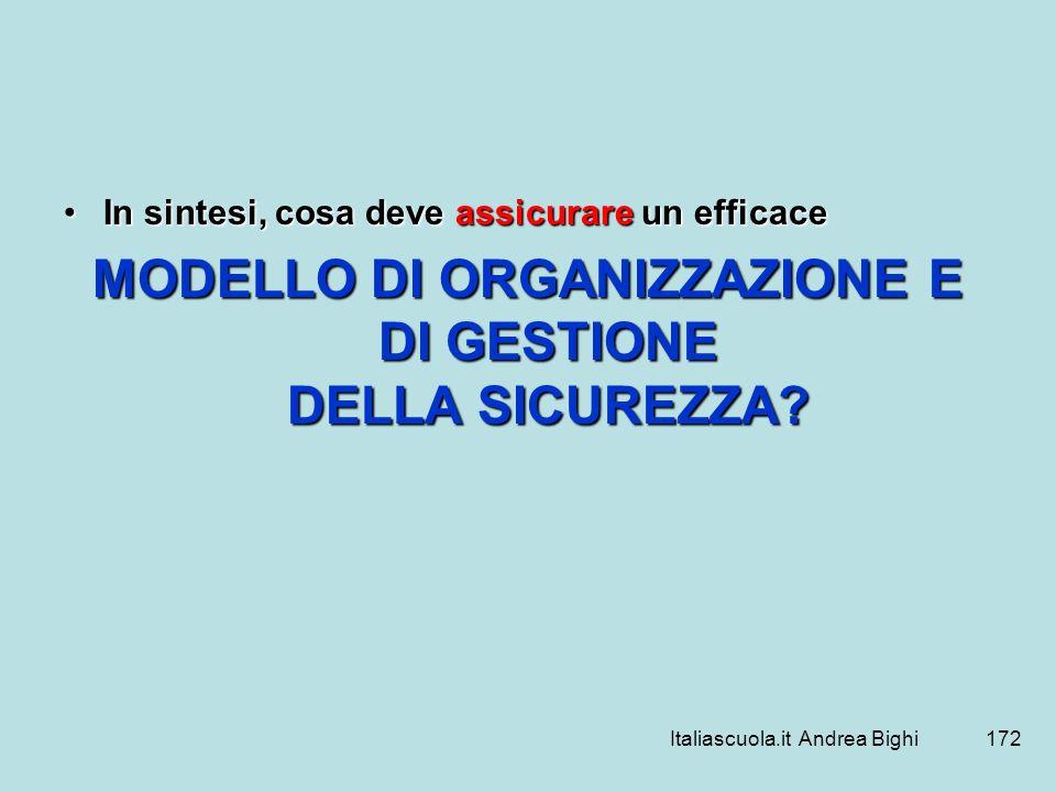 Italiascuola.it Andrea Bighi172 In sintesi, cosa deve assicurare un efficaceIn sintesi, cosa deve assicurare un efficace MODELLO DI ORGANIZZAZIONE E D