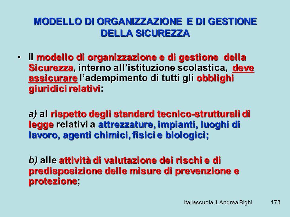 Italiascuola.it Andrea Bighi173 MODELLO DI ORGANIZZAZIONE E DI GESTIONE DELLA SICUREZZA Il modello di organizzazione e di gestione della Sicurezza, in