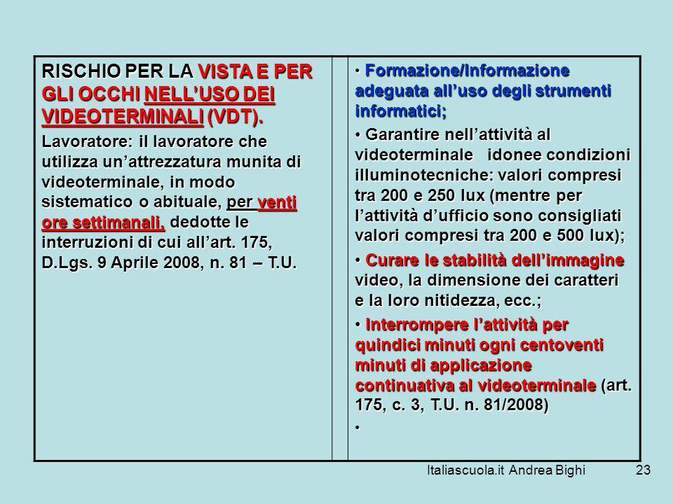 Italiascuola.it Andrea Bighi23 RISCHIO PER LA VISTA E PER GLI OCCHI NELLUSO DEI VIDEOTERMINALI (VDT). Lavoratore: il lavoratore che utilizza unattrezz