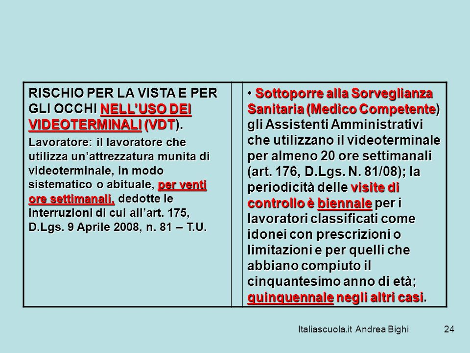 Italiascuola.it Andrea Bighi24 RISCHIO PER LA VISTA E PER GLI OCCHI NELLUSO DEI VIDEOTERMINALI (VDT). Lavoratore: il lavoratore che utilizza unattrezz
