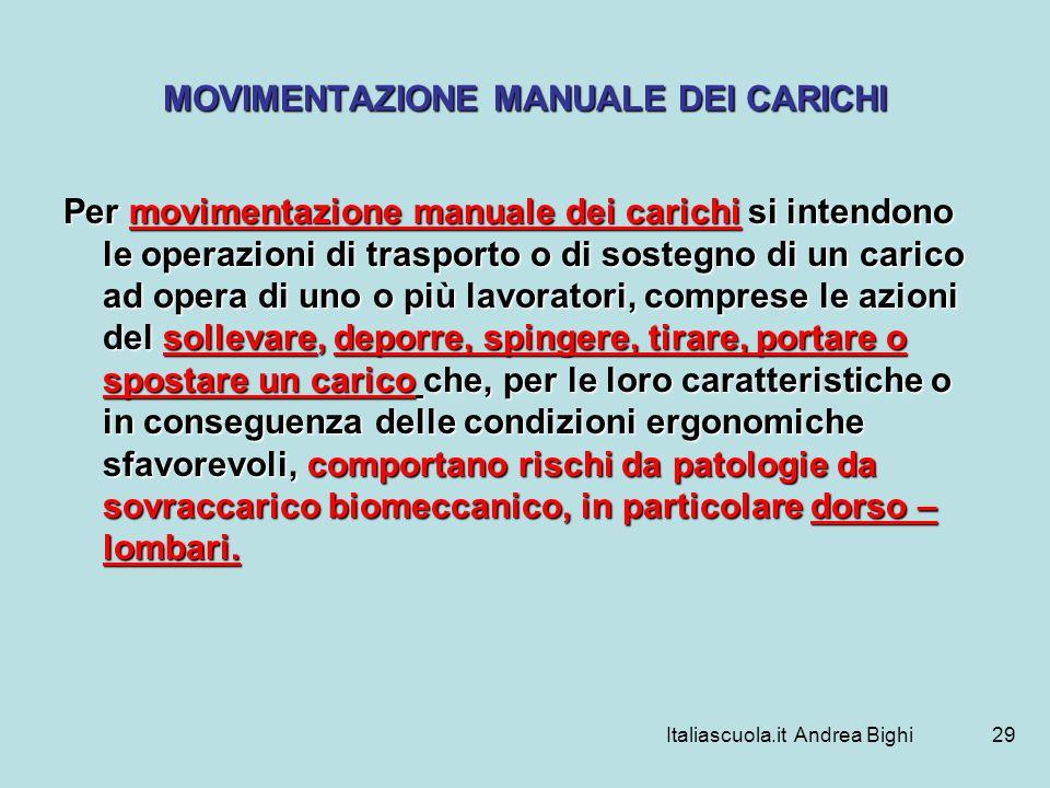 Italiascuola.it Andrea Bighi29 MOVIMENTAZIONE MANUALE DEI CARICHI Per movimentazione manuale dei carichi si intendono le operazioni di trasporto o di