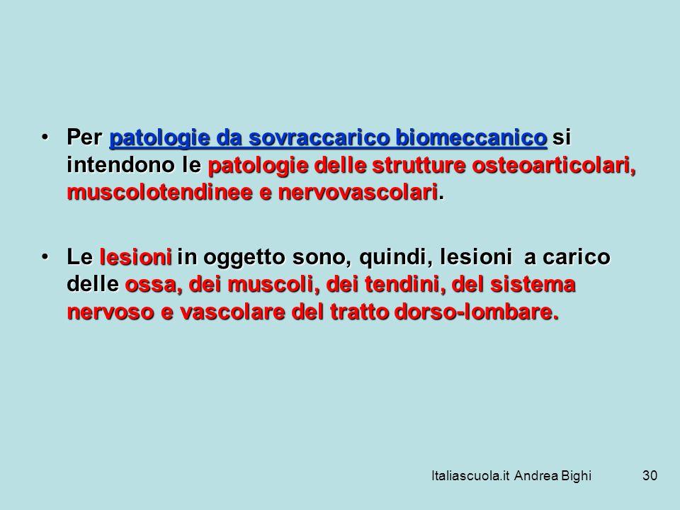 Italiascuola.it Andrea Bighi30 Per patologie da sovraccarico biomeccanico si intendono le patologie delle strutture osteoarticolari, muscolotendinee e