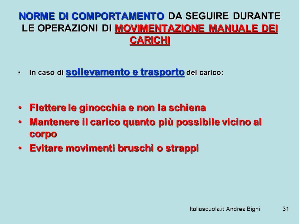Italiascuola.it Andrea Bighi31 NORME DI COMPORTAMENTO DA SEGUIRE DURANTE LE OPERAZIONI DI MOVIMENTAZIONE MANUALE DEI CARICHI In caso di sollevamento e