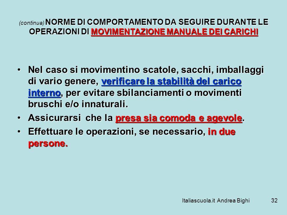 Italiascuola.it Andrea Bighi32 NORME DI COMPORTAMENTO DA SEGUIRE DURANTE LE OPERAZIONI DI MOVIMENTAZIONE MANUALE DEI CARICHI (continua) NORME DI COMPO