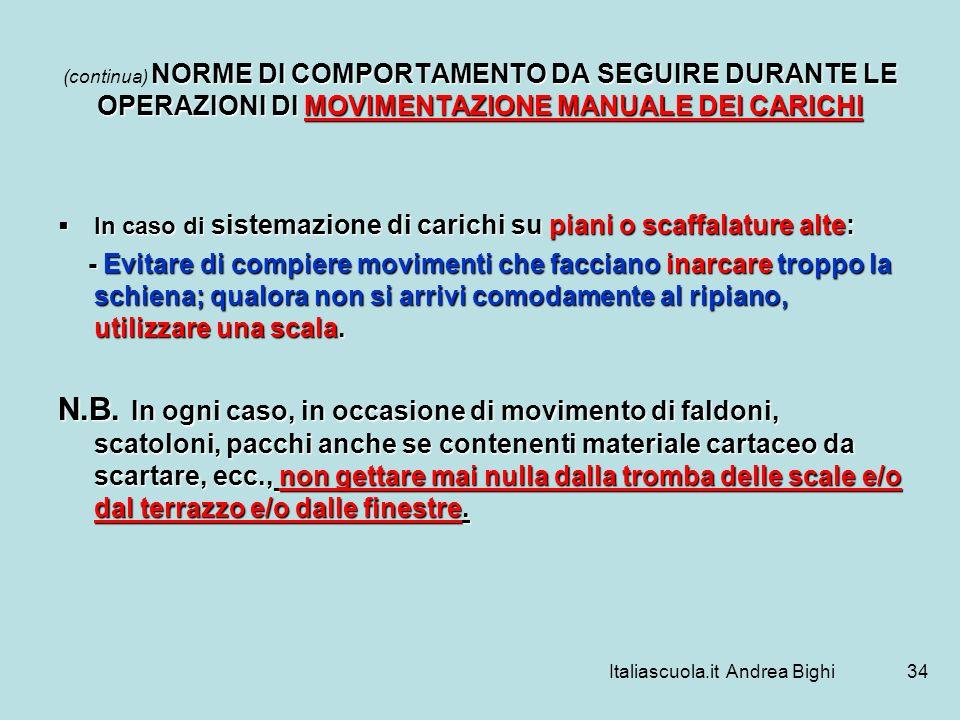 Italiascuola.it Andrea Bighi34 NORME DI COMPORTAMENTO DA SEGUIRE DURANTE LE OPERAZIONI DI MOVIMENTAZIONE MANUALE DEI CARICHI (continua) NORME DI COMPO