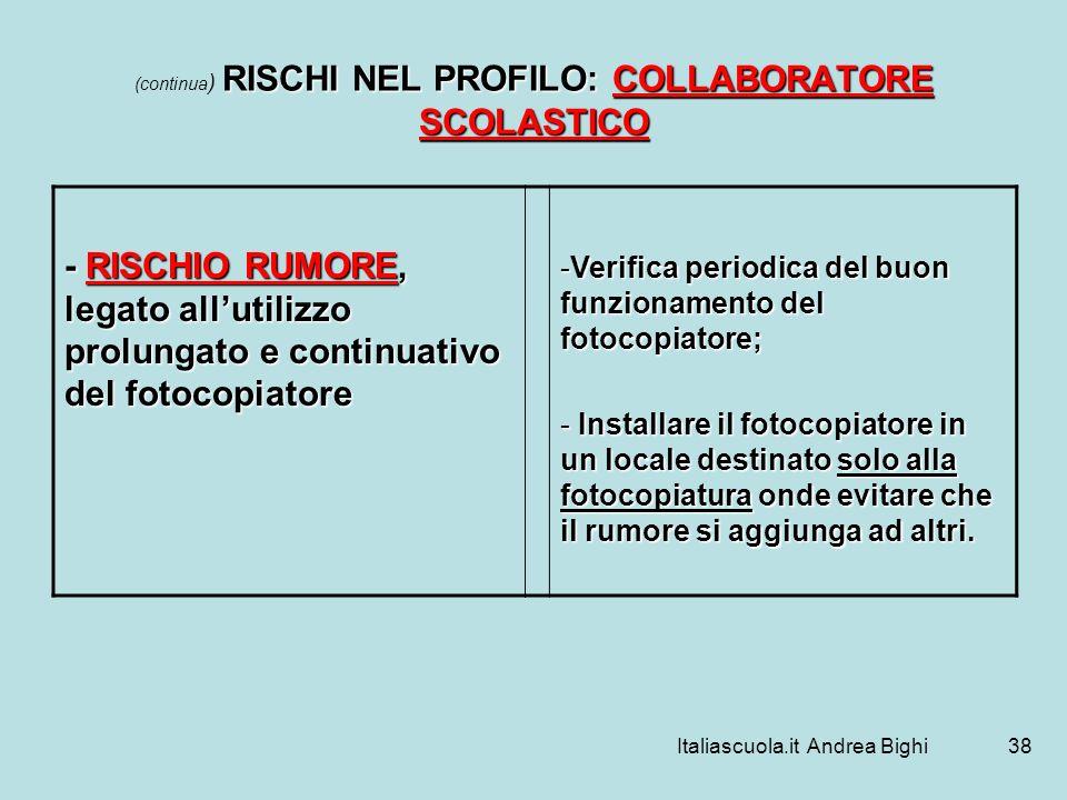 Italiascuola.it Andrea Bighi38 RISCHI NEL PROFILO: COLLABORATORE SCOLASTICO (continua ) RISCHI NEL PROFILO: COLLABORATORE SCOLASTICO - RISCHIO RUMORE,