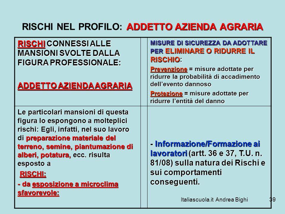 Italiascuola.it Andrea Bighi39 ADDETTO AZIENDA AGRARIA RISCHI NEL PROFILO: ADDETTO AZIENDA AGRARIA RISCHI CONNESSI ALLE MANSIONI SVOLTE DALLA FIGURA P