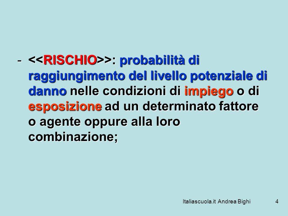 Italiascuola.it Andrea Bighi4 - >: probabilità di raggiungimento del livello potenziale di danno nelle condizioni di impiego o di esposizione ad un de