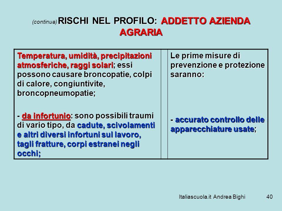 Italiascuola.it Andrea Bighi40 RISCHI NEL PROFILO: ADDETTO AZIENDA AGRARIA (continua) RISCHI NEL PROFILO: ADDETTO AZIENDA AGRARIA Temperatura, umidità
