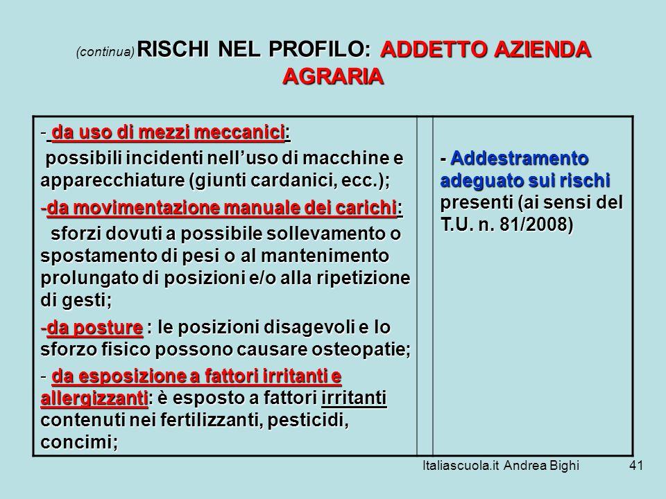 Italiascuola.it Andrea Bighi41 RISCHI NEL PROFILO: ADDETTO AZIENDA AGRARIA (continua) RISCHI NEL PROFILO: ADDETTO AZIENDA AGRARIA - da uso di mezzi me