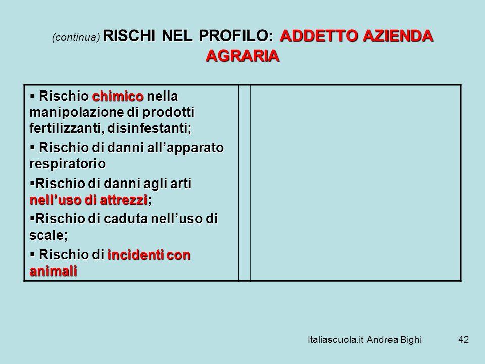 Italiascuola.it Andrea Bighi42 RISCHI NEL PROFILO: ADDETTO AZIENDA AGRARIA (continua) RISCHI NEL PROFILO: ADDETTO AZIENDA AGRARIA Rischio chimico nell