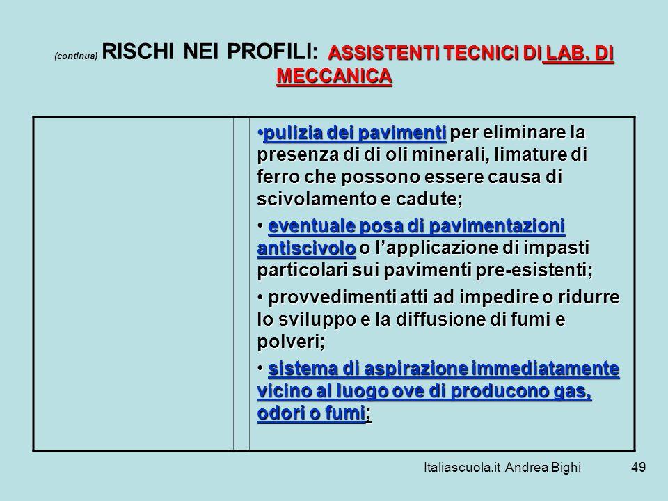 Italiascuola.it Andrea Bighi49 ASSISTENTI TECNICI DI LAB. DI MECCANICA (continua) RISCHI NEI PROFILI: ASSISTENTI TECNICI DI LAB. DI MECCANICA pulizia