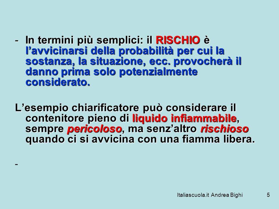 Italiascuola.it Andrea Bighi5 -In termini più semplici: il RISCHIO è lavvicinarsi della probabilità per cui la sostanza, la situazione, ecc. provocher