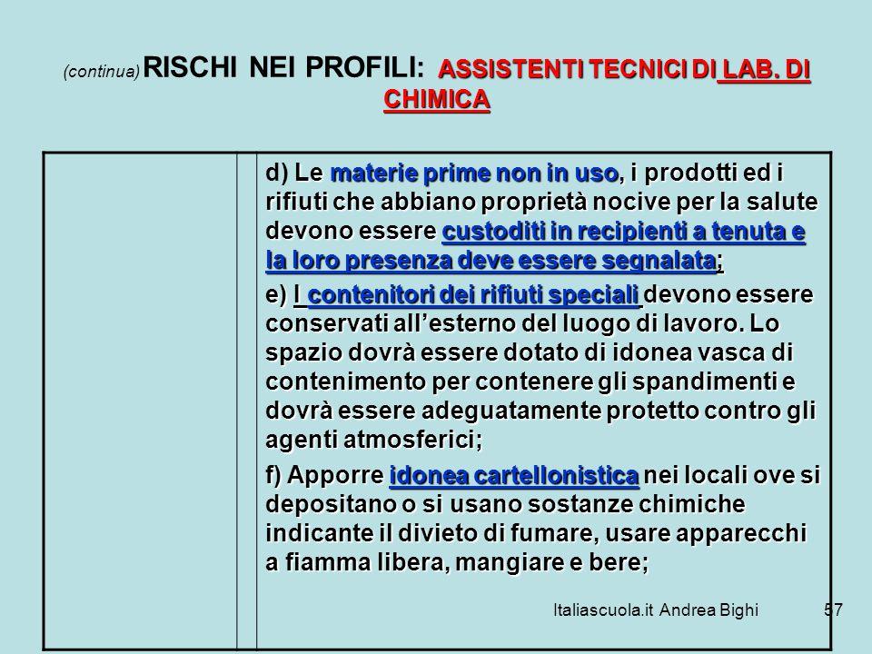 Italiascuola.it Andrea Bighi57 ASSISTENTI TECNICI DI LAB. DI CHIMICA (continua) RISCHI NEI PROFILI: ASSISTENTI TECNICI DI LAB. DI CHIMICA Le materie p