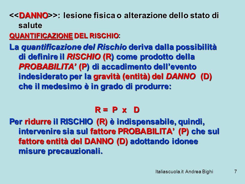 Italiascuola.it Andrea Bighi7 >: lesione fisica o alterazione dello stato di salute >: lesione fisica o alterazione dello stato di salute QUANTIFICAZI
