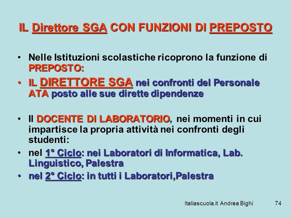 Italiascuola.it Andrea Bighi74 IL Direttore SGA CON FUNZIONI DI PREPOSTO PREPOSTO:Nelle Istituzioni scolastiche ricoprono la funzione di PREPOSTO: IL