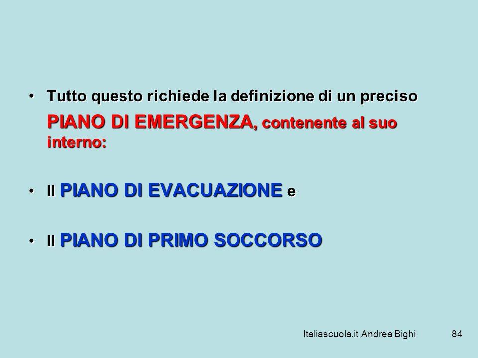 Italiascuola.it Andrea Bighi84 Tutto questo richiede la definizione di un precisoTutto questo richiede la definizione di un preciso PIANO DI EMERGENZA