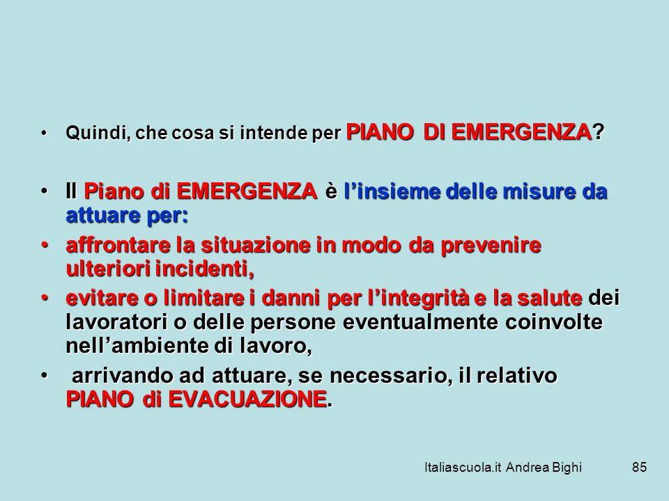 Italiascuola.it Andrea Bighi85 Quindi, che cosa si intende per PIANO DI EMERGENZA?Quindi, che cosa si intende per PIANO DI EMERGENZA? Il Piano di EMER