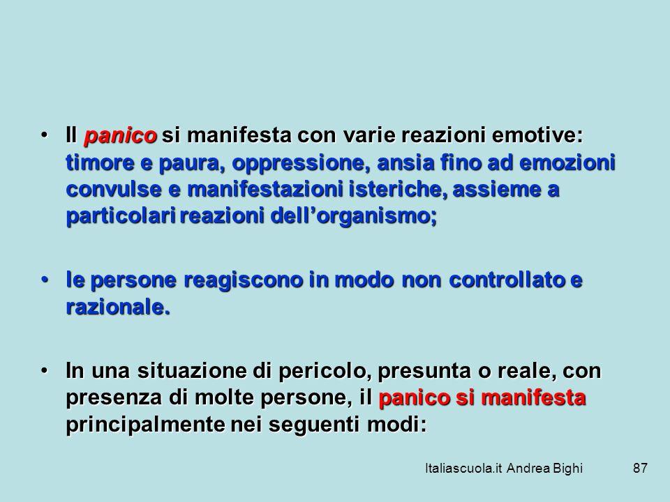 Italiascuola.it Andrea Bighi87 Il panico si manifesta con varie reazioni emotive: timore e paura, oppressione, ansia fino ad emozioni convulse e manif