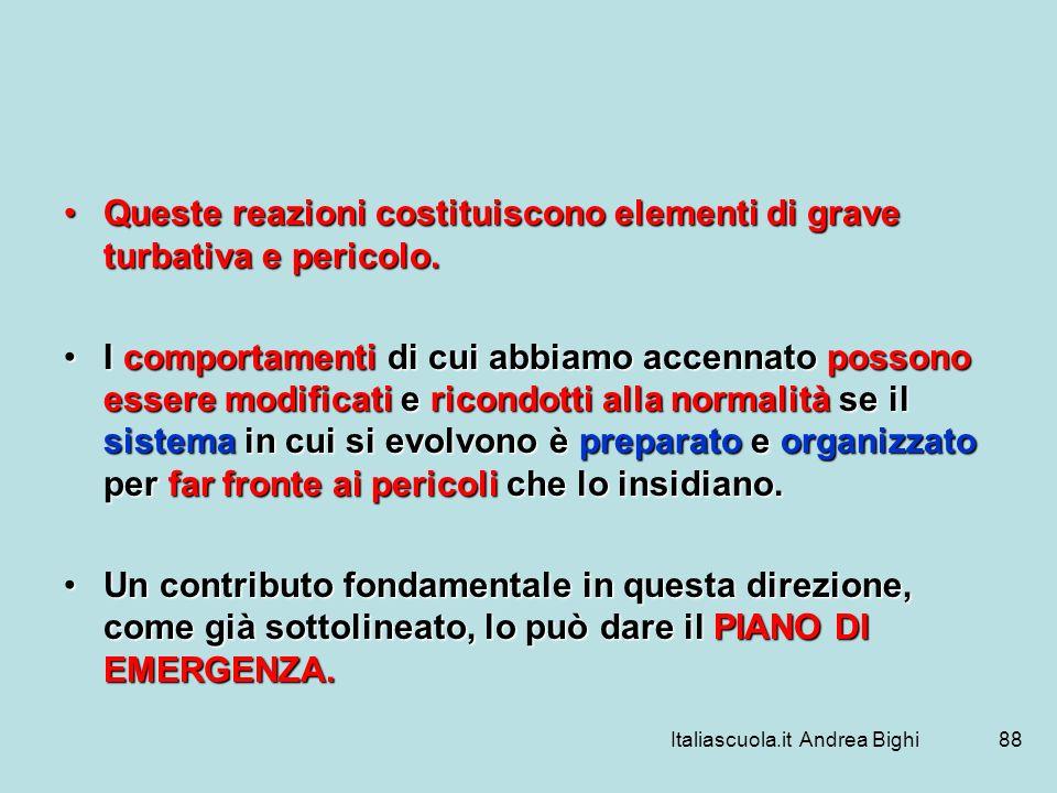 Italiascuola.it Andrea Bighi88 Queste reazioni costituiscono elementi di grave turbativa e pericolo.Queste reazioni costituiscono elementi di grave tu