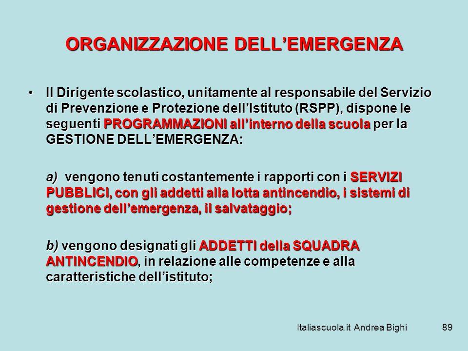 Italiascuola.it Andrea Bighi89 ORGANIZZAZIONE DELLEMERGENZA Il Dirigente scolastico, unitamente al responsabile del Servizio di Prevenzione e Protezio