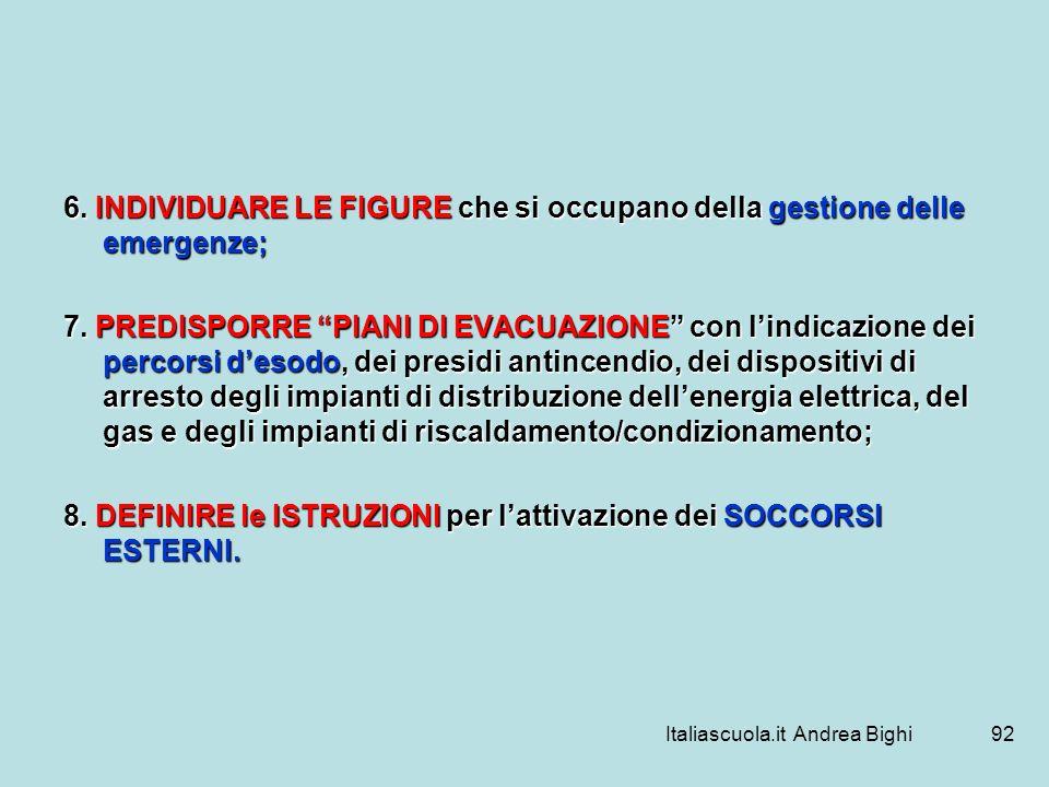 Italiascuola.it Andrea Bighi92 6. INDIVIDUARE LE FIGURE che si occupano della gestione delle emergenze; 7. PREDISPORRE PIANI DI EVACUAZIONE con lindic