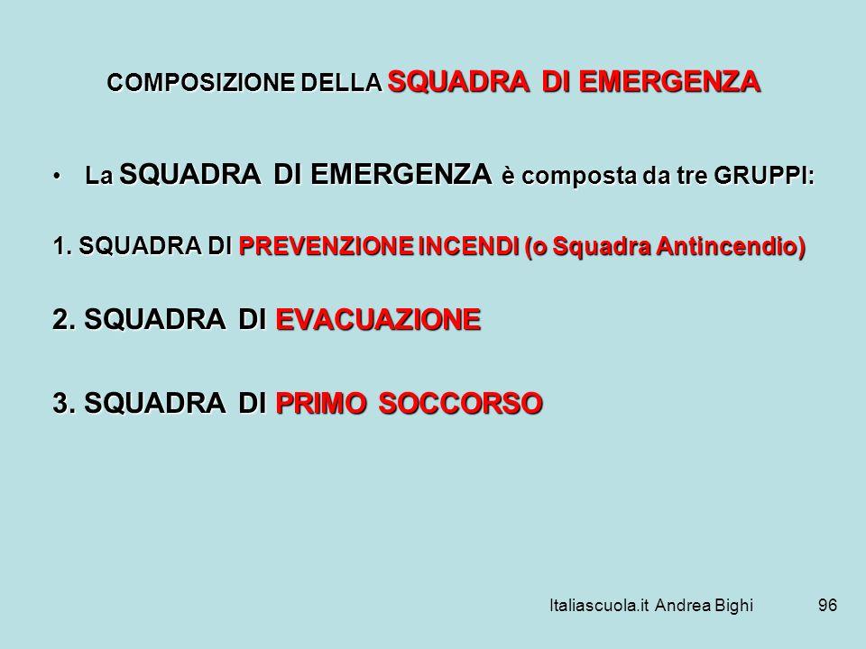 Italiascuola.it Andrea Bighi96 COMPOSIZIONE DELLA SQUADRA DI EMERGENZA La SQUADRA DI EMERGENZA è composta da tre GRUPPI:La SQUADRA DI EMERGENZA è comp