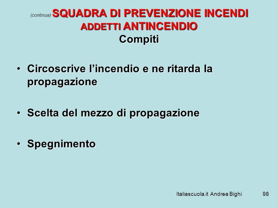 Italiascuola.it Andrea Bighi98 SQUADRA DI PREVENZIONE INCENDI ADDETTI ANTINCENDIO Compiti (continua) SQUADRA DI PREVENZIONE INCENDI ADDETTI ANTINCENDI