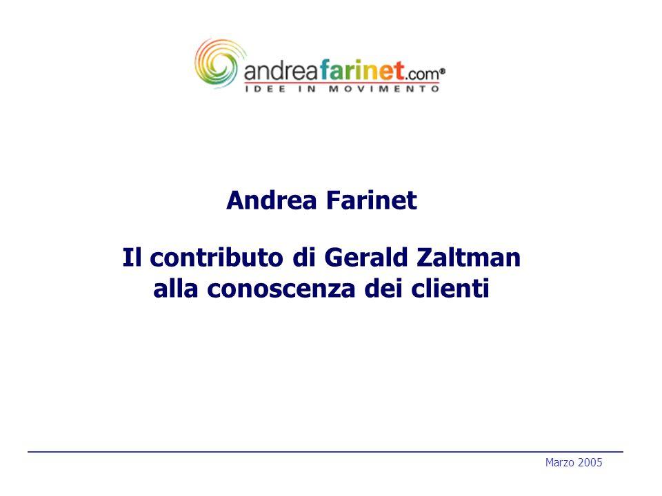 1 1 Marzo 2005 Andrea Farinet Il contributo di Gerald Zaltman alla conoscenza dei clienti