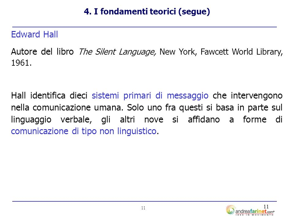 11 Edward Hall Autore del libro The Silent Language, New York, Fawcett World Library, 1961.