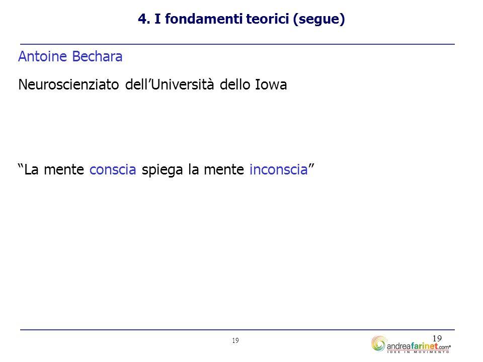 19 Antoine Bechara Neuroscienziato dellUniversità dello Iowa La mente conscia spiega la mente inconscia 4.