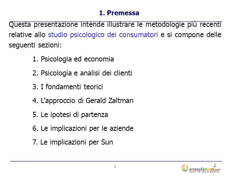 2 2 Questa presentazione intende illustrare le metodologie più recenti relative allo studio psicologico dei consumatori e si compone delle seguenti sezioni: 1.