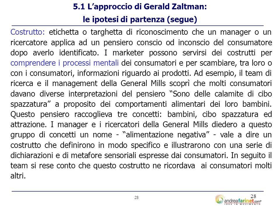 28 Costrutto: etichetta o targhetta di riconoscimento che un manager o un ricercatore applica ad un pensiero conscio od inconscio del consumatore dopo averlo identificato.