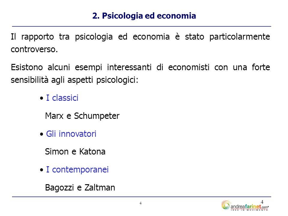 4 4 2. Psicologia ed economia Il rapporto tra psicologia ed economia è stato particolarmente controverso. Esistono alcuni esempi interessanti di econo