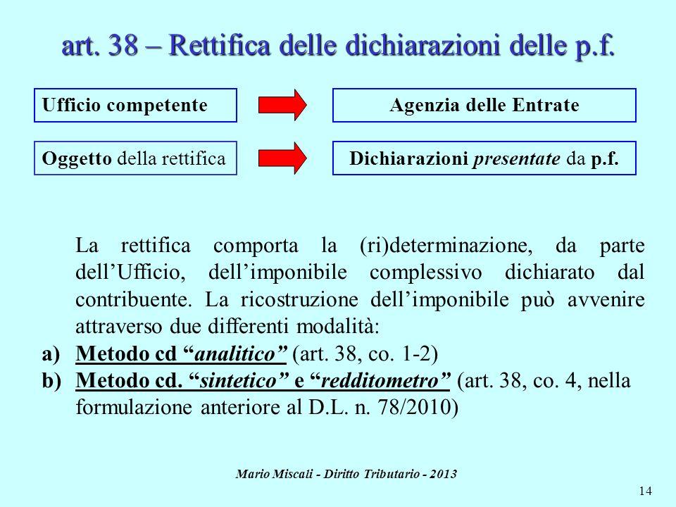 Mario Miscali - Diritto Tributario - 2013 14 art. 38 – Rettifica delle dichiarazioni delle p.f. Ufficio competente Oggetto della rettifica Agenzia del